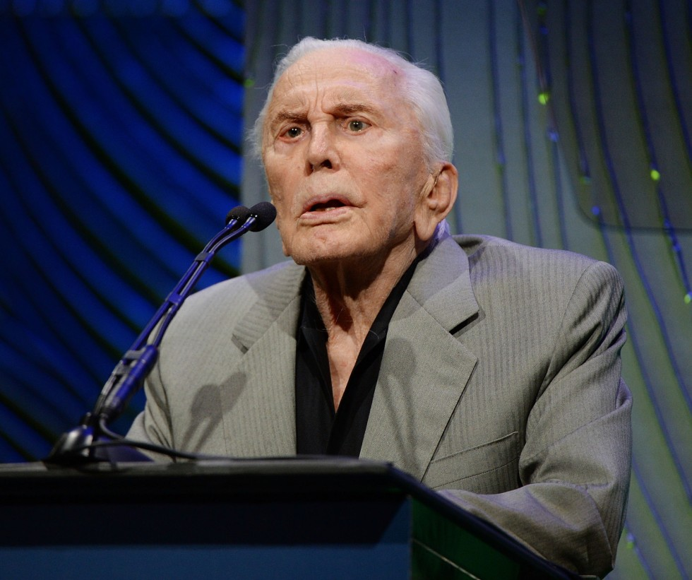BEVERLY HILLS, CA - MAY 08:  Actor Kirk Douglas presents onstage at the Anti-Defamation League Centennial Entertainment Industry Awards Dinner Honoring Jeffrey Katzenberg at The Beverly Hilton Hotel on May 8, 2013 in Beverly Hills, California.  (Photo by Michael Kovac/WireImage)